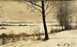 Dobroszláv Lajos (1902 - 1986) Téli táj II akvarell festménye EREDETI GARANCIÁVAL !!