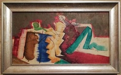 Müller Árpád 1985ös festménye, melyet régi barátjának Evva Lenanak (Éva Ilona, író) dedikált.