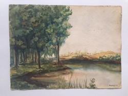 Rudnyánszky L: Tópart 1936., jelzett, akvarell festmény