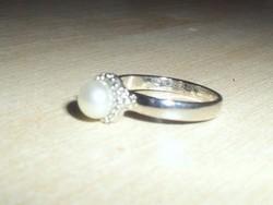 Hófehér Igazgyöngy 18k Fehérarany GF. Gyűrű 7-es