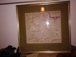 Üvegezett térkép  fali kép, színes, késő középkori stílusú térképpel, Cambridge