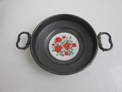 Régi virágmintás porcelánbetétes ón füles tál