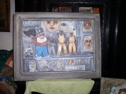 Cirkusz-. ABA NOVÁK kép vázlat? 56 x 74 cm, Rétegelt lemez,  olajjal védett tempera.