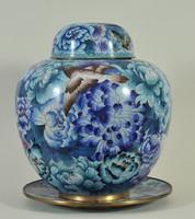 Kínai rekeszzománc váza tányérral