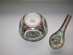 Régi jelzett kínai leveses tál kanállal, aranyozott II.