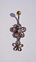 Virágos, rózsaszín és fehér köves ezüst piercing
