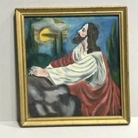 JÉZUS AZ OLAJFÁK HEGYÉN TEMPERA VÁSZON VALLÁSOS FESTMÉNY
