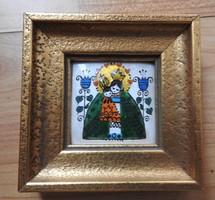 Madonna - tűzzománc miniatúra