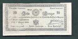 10 ezüst Kraiczár ( Krajcár Kreuzer ) 1849 Almásy