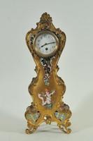 Aranyozott bronz francia kandalló óra, rekeszzománc díszítéssel
