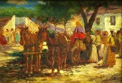 Olvashatatlan szignó: Piaci jelenet lovaskocsival