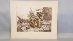 Görög Rezső színezett rézkarc : Almás csendélet