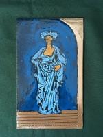 Kék ruhás hölgy zománc kép vaslemezen