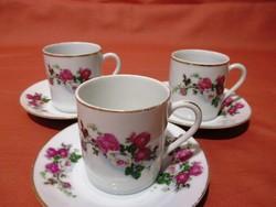 3 db rózsás kávés csésze csészealjjal
