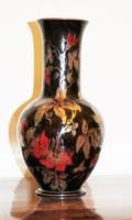 Zsolnay kéttüzű eozin mázas virágos váza. Hibátlan, jelzett!