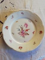 Gyönyörű virágos antik lapos tányér