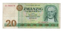"""20 márka 1975 """"ZD""""!!! sorszám NDK Németország ritkább"""