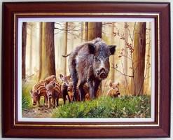 Koca és a malacai KERETEZVE 42x52cm olaj-vászon festmény