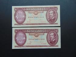 2 darab 100 forint 1984 Sorszámkövető Szép ropogós bankjegyek