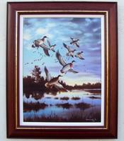 Alkonyi röpte KERETEZVE 52x42cm olaj-vászon festmény