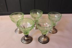 Ezüst talpas snapszos pohár készlet, 5 darab