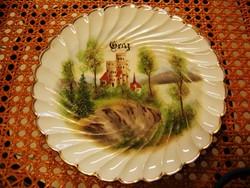 Antik, 19. sz-i kézzel festett RPM porcelán GRAZ falitányér
