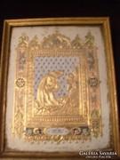 E10  Antik Jesus am oelberg dús aranyozással ikon szerű üveglapos 1800-as évek eleje 26 x21 cm
