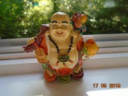 Nagyon színes,nagyon vidám,kézzel festett kis Buddha szobor,sok ajándékkal-10 cm