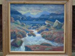 Antik Nagyméretű olajfestmény eladó 78 x 71