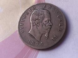 1874 olasz ezüst 5 líra 25 gramm 0,900