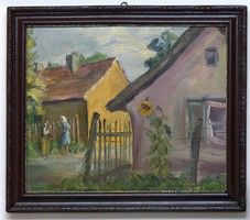 Falusi utca két alakkal olaj/vászon festmény 60x50
