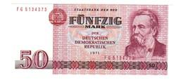 50 márka 1971 FG sorszám NDK Németország UNC