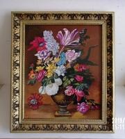 Csendélet virágokkal /olaj, farost/  31 x 25 cm