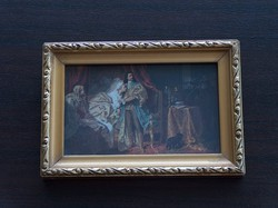 Miniatűr reprodukció: II. Rákóczi Ferenc elfogatása, szép keret, üveg fedés
