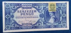 Kék 100000 Pengő 1945 egyszer hajtott   bankjegy EF  zöld bélyeggel