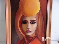 Női portré 40 cm  x  25  cm    olaj/farost