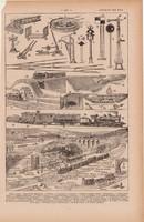 Vasút, nyomat 1923, francia, 19 x 29 cm, lexikon, eredeti, vonat, pályaudvar, szemafor, pálya