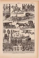 Posta, nyomat 1923, francia, 19 x 29 cm, lexikon, eredeti, levél, csomag, szállítás, történet, légi