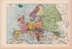 Európa térkép 1938, francia, 19 x 29 cm, lexikon, eredeti, politikai, népek, állatok