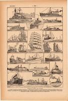 Hajók, hajózás, nyomat 1923, francia, 19 x 29 cm, lexikon, eredeti, vitorlás, gőzhajó, óceán, tenger