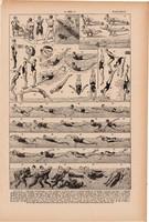 Úszás, nyomat 1923, francia, 19 x 29 cm, lexikon, eredeti, sport, vízi, víz, úszó, pillangó, gyorsl