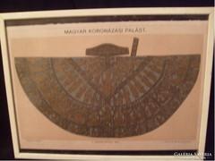 Magyar koronázási palást üveglapos keretében 24,5 x 18,5cm