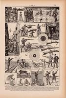 Lövészet, nyomat 1923, francia, 19 x 29 cm, lexikon, eredeti, lőtér, sport, katonaság, puska