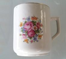 Zsolnay rózsás virágos porcelán bögre 9 cm