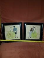 Két kis selyemre festett kép, viseltes, de gyönyörű keretben
