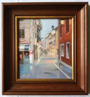 """Zoltai Attila """"Esti fények Rovinjban"""" c. keretezett olajfestmény ingyenes házhoz szállítással"""
