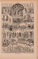 Tánc, nyomat 1923, francia, 19 x 29 cm, lexikon, eredeti, bál, balett, ősi táncok