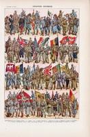 A Nagy háború katonái, színes nyomat 1923, francia, 19 x 29 cm, lexikon, eredeti, I. világháború