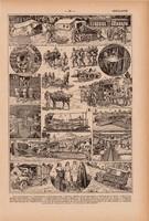 Mentők, nyomat 1923, francia, 19 x 29 cm, lexikon, eredeti, mentő, beteg, szállítás, elsősegély