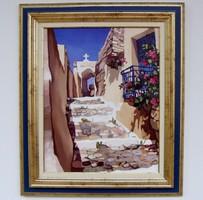 ÁR ALATT Király Nikoletta Mediterrán utca KERETEZETT olajfestménye